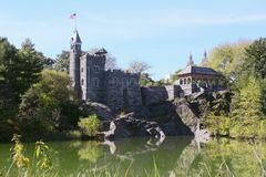 Belvedere Castle in Central Park, overlooking Turtle Pond Royalty Free Stock Image