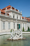 Belvedere Castle park - Vienna. WIEN - AUGUST 1: details of fountain statues of Belvedere Castle since 1712 is a masterpiece of Baroque Austrian and one of Stock Photos