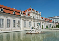Belvedere Castle park - Vienna. WIEN - AUGUST 1: View of Belvedere Castle since 1712 is a masterpiece of Baroque Austrian and one of Europe's most beautiful Stock Photo