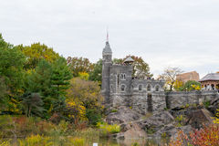 Belvedere castle and turtle lake. The belvedere castle is located in the heart of Central Park with beautiful views over the park Stock Photo