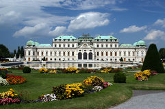 Belvedere Castle in Vienna. With flowers in the foreground stock images