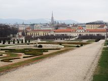 The Belvedere Garden photo. The Belvedere Gardens view at Belvedere palace, Austria Royalty Free Stock Images