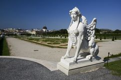 Belvedere garden and sphinx, Vienna Royalty Free Stock Image