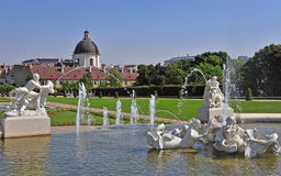 Belvedere garden in Vienna, Austria Royalty Free Stock Photo