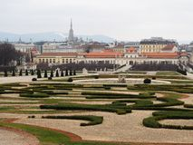 The Belvedere Gardens View. The Belvedere Gardens view is so beautiful at Austria Stock Image