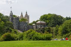 Belvedere Kasteel, dwaasheid in Central Park in Manhattan royalty-vrije stock afbeelding