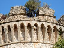Belvedere Marittimo - Detail of the tower of the castle. Belvedere Marittimo, Cosenza, Calabria, Italy - August 22, 2017: Detail of the Aragonese Castle Mastio Stock Photography