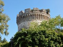 Marble Quarter - Castle Tower. Belvedere Marittimo, Cosenza, Calabria, Italy - August 22, 2017: A glimpse of the Aragonese Mastio from via Castel Rugiero Stock Photography