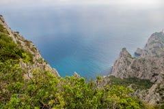 Belvedere Migliera em Anacapri na ilha de Capri, Itália fotografia de stock