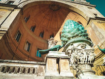 Belvedere Palace. Bronze fountain in shape of bump. Vatican, Italy. Courtyard of Vatican Museum. Beautiful Roman fountain. View from below Royalty Free Stock Photos