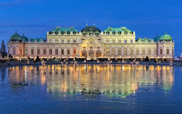 Belvedere Palace with Christmas Village in Vienna, Austria Stock Images