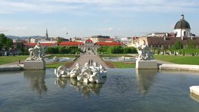Belvedere Palace complex. Lower level fountain. Vienna, Austria stock video footage