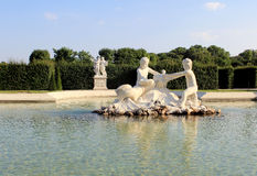 Belvedere Palace fountain and garden Royalty Free Stock Images