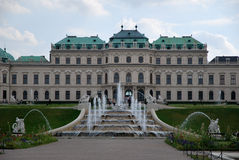 The Belvedere Palace and fountains Royalty Free Stock Photos