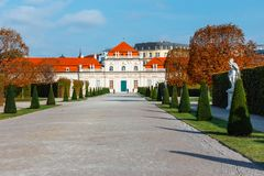 Belvedere Palace and garden in Vienna. The Main palace - Upper Belvedere. Austria royalty free stock photos