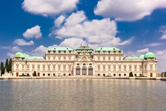 Belvedere palace is reflected in fountain wate Stock Photo
