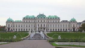 Belvedere palace in Vienna, Austria on a cloudy day stock video footage