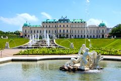 Belvedere Palace, Vienna. Belvedere Palace, garden and fountains, Vienna, Austria Royalty Free Stock Photography