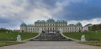Belvedere Paleis in Wenen bij zonsondergang royalty-vrije stock fotografie