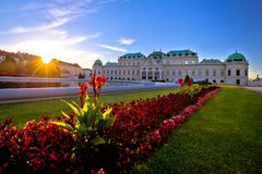 Belvedere park in Vienna sunset view stock photography