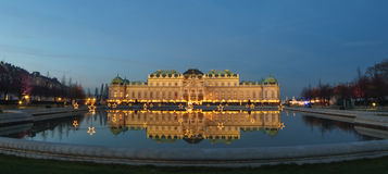 Belvedere in Vienna Austria at Christmas time. Famous palace Belvedere in Vienna, Austria at Christmas time Royalty Free Stock Photos