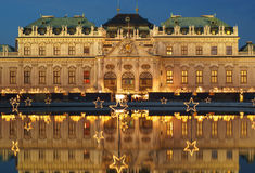 Belvedere in Vienna Austria at Christmas time. Famous palace Belvedere in Vienna, Austria at Christmas time Royalty Free Stock Image