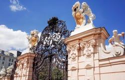 Belvederen är ett historisk byggnadkomplex i Wien, Österrike Arkivbilder