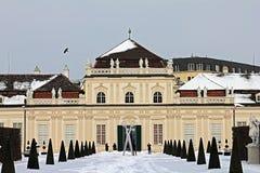 Belvedereslott och trädgård i Wien Fäll ned belvederen arkivbilder