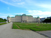 Belweder ustawiający na parku jest historyczny powikłany składać się z cztery budynku, Sławny miejsce dla turysty w Wiedeń Fotografia Royalty Free