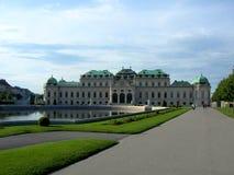 Belweder ustawiający na parku jest historyczny powikłany składać się z cztery budynku, Sławny miejsce dla turysty w Wiedeń Zdjęcie Royalty Free