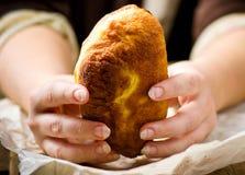 Belyash,与肉装填的发酵面团圆的肉馅饼 免版税库存照片