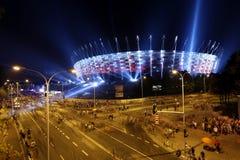 Belysning av den nationella stadion för fasad i Warszawa, Royaltyfri Fotografi