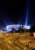 Belysning av den nationella stadion för fasad i Warszawa, Polen Arkivfoton