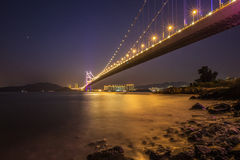 Belysning av Tsing Ma Bridge Royaltyfria Bilder