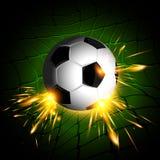 Belysning för fotbollboll Arkivfoto