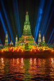 Belysningeffekter på Wat Arun Temple i natten, Bangkok, Thail Fotografering för Bildbyråer
