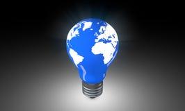 Belysningkula med världskartan Arkivfoton