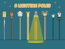Belysningpol runt om världen - Arkivfoto