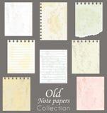 bemärk gammala papperen stock illustrationer