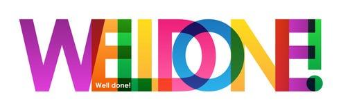 BEM COZIDO! bandeira de sobreposição colorida das letras ilustração stock