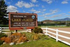Bem-vindo assine dentro o Lake Placid, New York, EUA Imagem de Stock Royalty Free