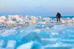 Bemanna att gå på icy strand längs det baltiska havet Arkivfoto