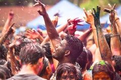 Den Holi festivalen av färgar i Kuala Lumpur Arkivfoton