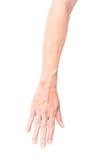 Bemannen Sie Arm mit Blutadern auf weißem Hintergrund, Gesundheitswesen und mir Stockfotos