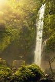 Bemannen Sie Aufenthalt vor schönem Wasserfall und heben Sie seine Hände zu den Seiten an Getrennt auf Schwarzem Lizenzfreie Stockfotos