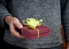 Bemannen Sie das Anhalten eines Geschenks Lizenzfreies Stockbild