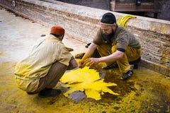 Bemannen Sie das Arbeiten in einer Gerberei in der Stadt von Fez in Marokko Stockfotos