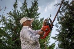 Bemannen Sie das Arbeiten im Garten, der die Bäume schneidet lizenzfreies stockbild
