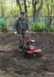 Bemannen Sie das Arbeiten im Garten, der Grundlandwirt vorbereitet Stockfotografie