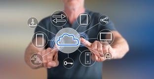 Bemannen Sie das Berühren eines Datenverarbeitungskonzeptes der Wolke auf einem Touch Screen Stockfoto